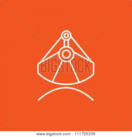 Mining industrial scoop line icon for web, mobile and infographics. Vector white icon isolated on red background.