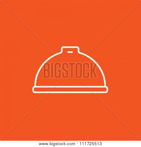 Restaurant cloche line icon for web, mobile and infographics. Vector white icon isolated on red background.