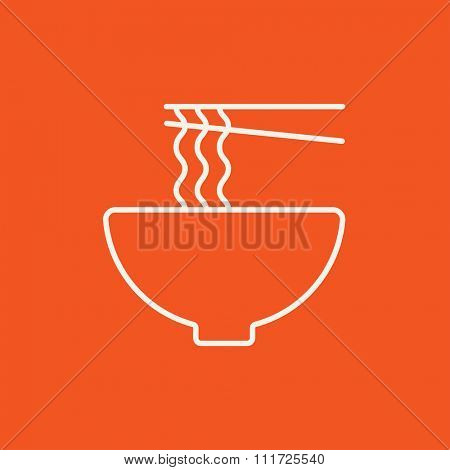 Bowl of noodles with a pair of chopsticks line icon for web, mobile and infographics. Vector white icon isolated on red background.