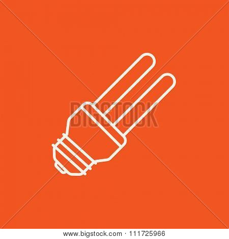 Energy saving light bulb line icon for web, mobile and infographics. Vector white icon isolated on red background.