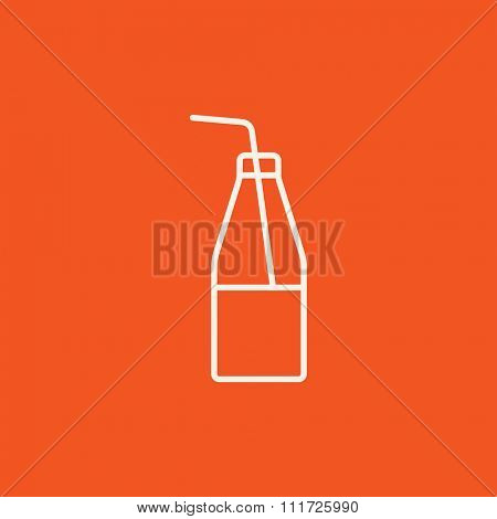 Glass bottle with drinking straw line icon for web, mobile and infographics. Vector white icon isolated on red background.