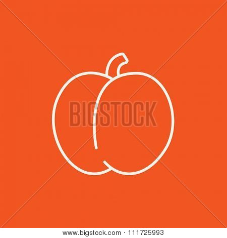 Plum with leaf line icon for web, mobile and infographics. Vector white icon isolated on red background.