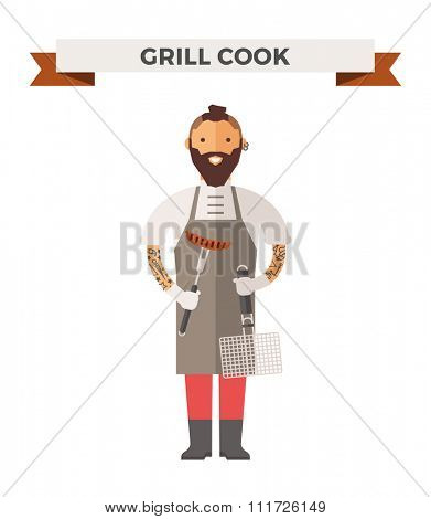 Vector cooking chef vector illustration. Cartoon cook chef icon. Restaurant cook chefs hat and cook uniform. Vector cooks, cooks uniform, cooks chefs, chefs isolated, cook people. Professions job