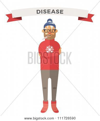 Man illness vector illustration. Seasonal virus attack. Man illness, boy sick. Man cold illustration. People unwell need medical help. Virus, health, fever people silhouette. People unwell