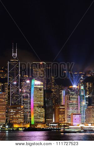 HONG KONG - MAY 09, 2012: Nighttime city view of the Hong Kong Island. Hong Kong, is an autonomous territory on the southern coast of China at the Pearl River Estuary and the South China Sea