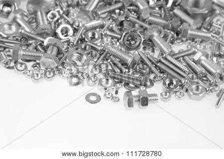 Chrome nuts and bolts closeup