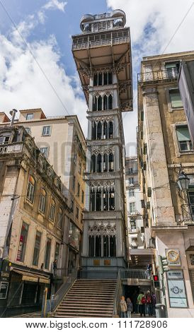 Lisbon, Portugal March 24, 2013: Santa Justa elevator in Lisbon, Portugal on July 27, 2013. The elevator was built by Raoul Mesnard in 1902 to connect Baixa Pombalina and Chiado