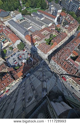 Turin From The Highest Building  And The Shadow Of Big Tower