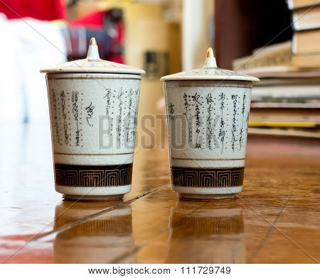 GOMEL, BELARUS - NOVEMBER 28, 2015: The Japanese porcelain (Kutani). Porcelain (also known as china or fine china) is a ceramic material made by heating materials.