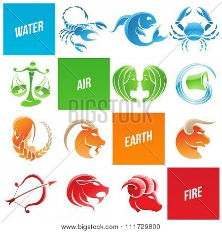 Vector Illustration of Colorful Zodiac Star Signs