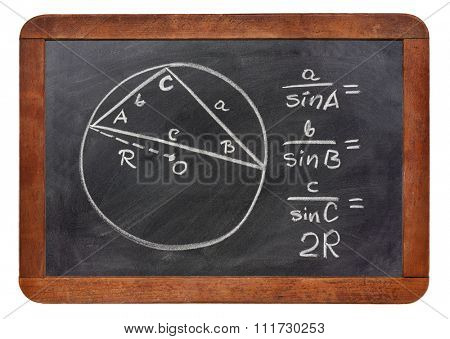 Law of sines explained on a blackboard, rough white chalk sketch