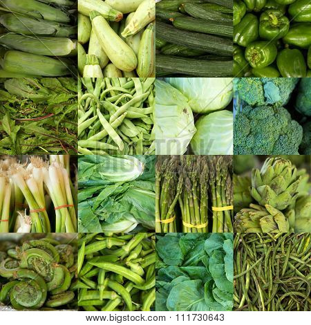 Collage of green vegetables like asparagus, lettuce, cucumber and peppers