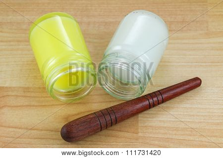 Different formulas of Thai balm with a wooden stick for foot reflexology massage