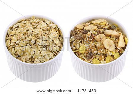 White cups full of raw rolled oats next to Packaged muesli with various dried fruit and seeds.