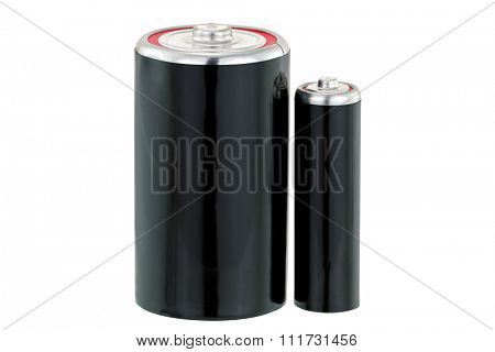 Black Dry cell D and AA size battery in black color isolated on white background