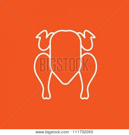 Raw chicken line icon for web, mobile and infographics. Vector white icon isolated on red background.