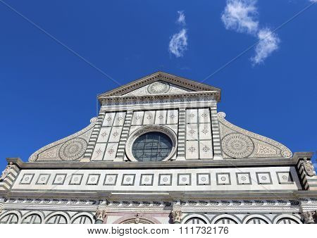Florence Facade Of Church Called Santa Maria Novella Near The Train Station Of Florence