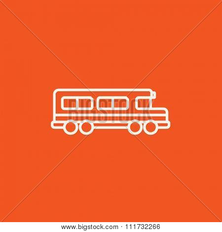 School bus line icon for web, mobile and infographics. Vector white icon isolated on red background.