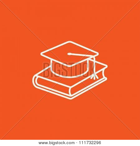 Graduation cap laying on book line icon for web, mobile and infographics. Vector white icon isolated on red background.