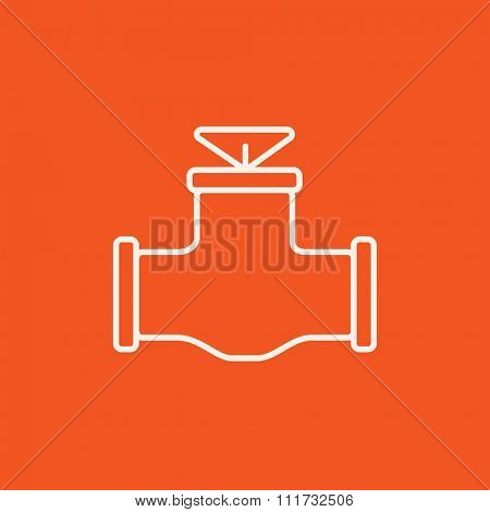 Gas pipe valve line icon for web, mobile and infographics. Vector white icon isolated on red background.