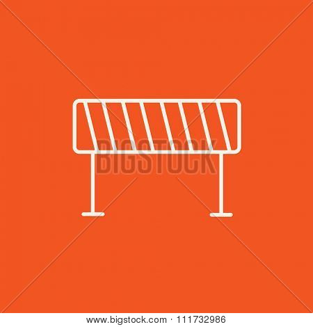 Road barrier line icon for web, mobile and infographics. Vector white icon isolated on red background.
