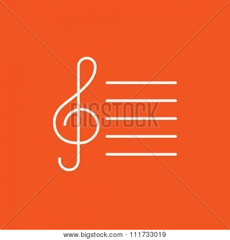 Treble clef line icon for web, mobile and infographics. Vector white icon isolated on red background.