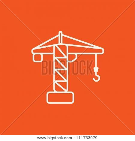 Construction crane line icon for web, mobile and infographics. Vector white icon isolated on red background.