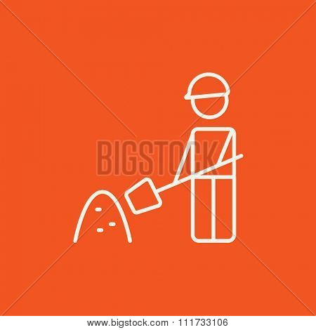 Man with shovel and hill of sand line icon for web, mobile and infographics. Vector white icon isolated on red background.