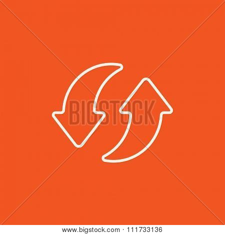 Two circular arrows line icon for web, mobile and infographics. Vector white icon isolated on red background.