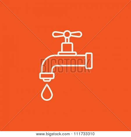 Dripping tap with drop line icon for web, mobile and infographics. Vector white icon isolated on red background.
