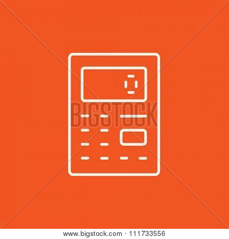 Calculator line icon for web, mobile and infographics. Vector white icon isolated on red background.