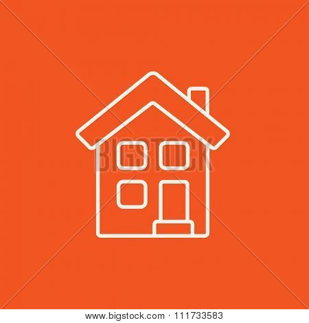 Two storey detached house line icon for web, mobile and infographics. Vector white icon isolated on red background.