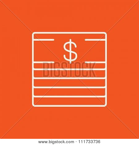 Stack of dollar bills line icon for web, mobile and infographics. Vector white icon isolated on red background.