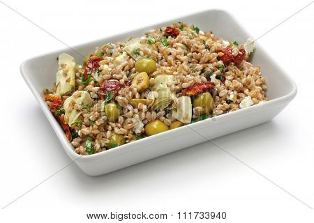 spelt salad, insalata di farro, italian cuisine isolated on white background