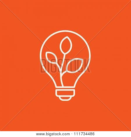 Lightbulb and plant inside line icon for web, mobile and infographics. Vector white icon isolated on red background.