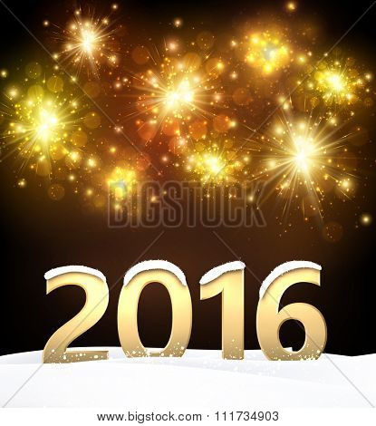 2016 New Year background with fireworks. Vector paper illustration.