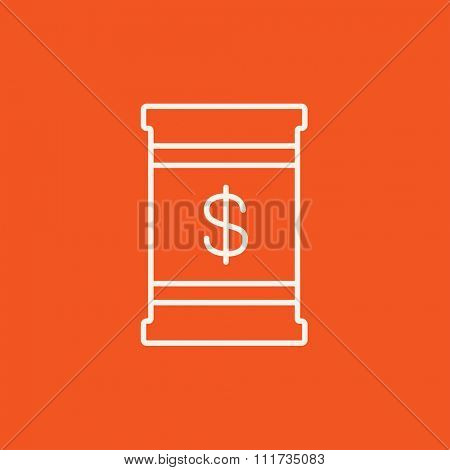 Barrel with dollar symbol line icon for web, mobile and infographics. Vector white icon isolated on red background.