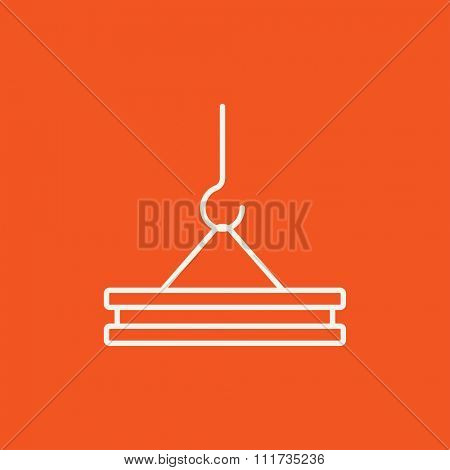 Crane hook holding concrete slab line icon for web, mobile and infographics. Vector white icon isolated on red background.
