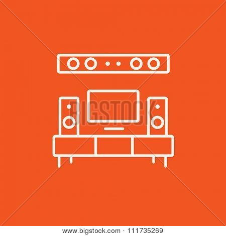 TV flat screen and home theater line icon for web, mobile and infographics. Vector white icon isolated on red background.