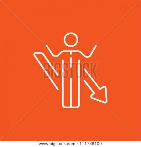 Businessman with raised hands and arrow going down line icon for web, mobile and infographics. Vector white icon isolated on red background.