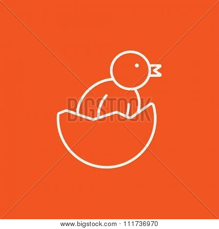 Chick peeking out of an egg shell line icon for web, mobile and infographics. Vector white icon isolated on red background.