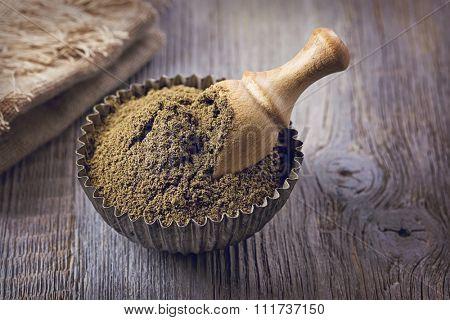 Gluten free hemp flour in a bowl
