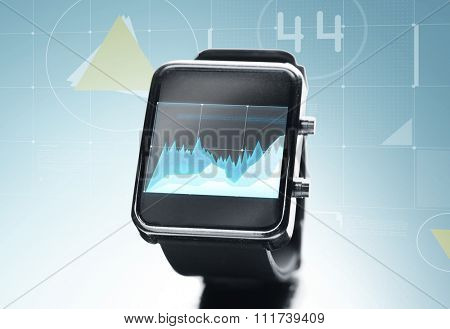 modern technology, statistics, business and object concept - close up of black smart watch with chart on screen over blue background