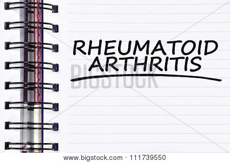 Rheumatoid Arthritis Words On Spring Note Book