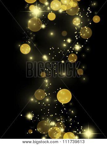 Beautiful gold glittering stars and star dust.
