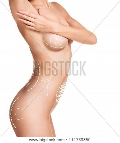 Female body with the drawing arrows