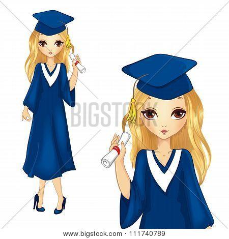 Fashion Girl In Graduation Robe