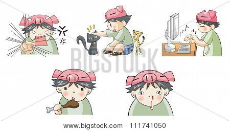 Piggy boy cartoon icon in various action like eating, angry, playing with cat pet, typing on compute