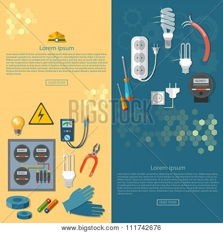Electricity Banners Electrician Tools Installation Of Electric Meter Vector Illustration