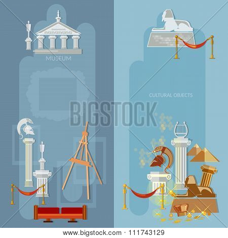 Art Gallery Antique Museum Exhibition World Culture Ancient Civilizations Banners